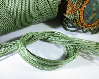 Green Olive Waxed Polyester Cord 25ft pack  = 8.33 yards = 7,6 meters Linhasita Thread Brand #90