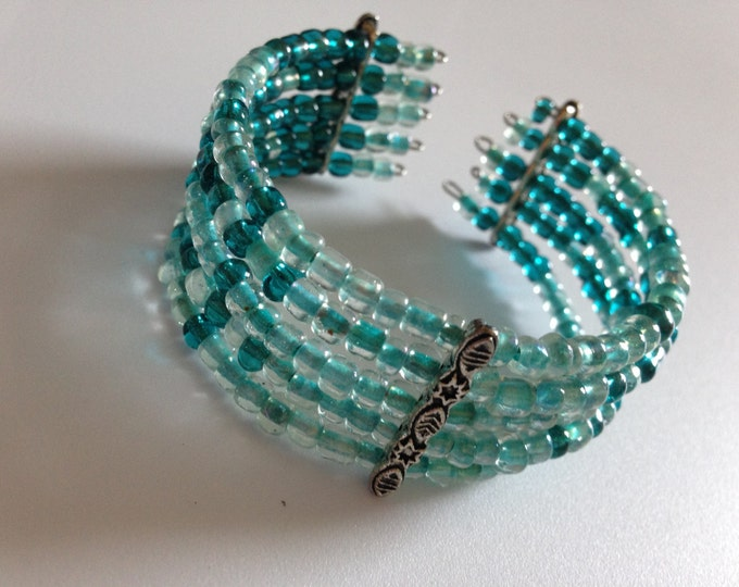 CLEARANCE! blue and green beaded cuff bracelet
