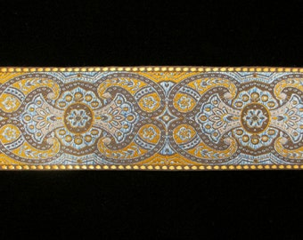 """428.1 Jacquard trim """"Firenze"""" brown with blue - 2-1/4"""" (57mm)"""