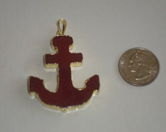 New! Red Agate Anchor Pendant with 24K Gold Plated Edges, Nautical Pendant Charm