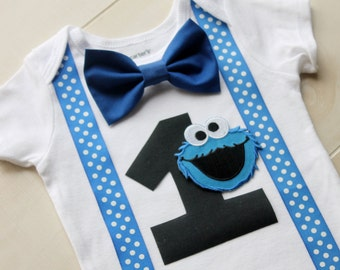 Cookie Monster Birthday Outfit, Cake Smash Outfit, Baby Boy First Birthday Outfit