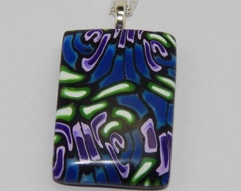 Polymer Clay Pendant Polymer Clay Necklace Blue Clay Pendant