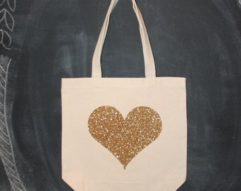 Putting on the Glitz: gold heart tote