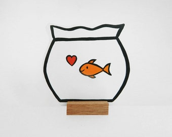 Wooden Fishbowl with a goldfish and a heart. Great gift!