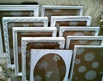 "Vintage Frames, White Distressed Picture Frames, Wedding Frames, Hand Painted Set of 10, 5"" x 7""  Metal Frames, Made to Order,"