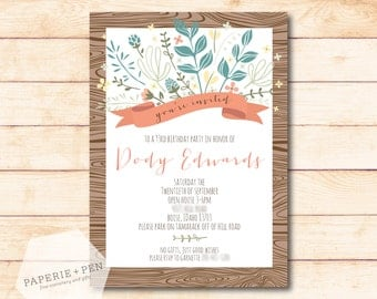 Wild Flower Bouquet Birthday Party or Shower Invitation, 2-3 Day Turnaround!