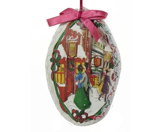 Oval Lace Trimmed Victorian  Shoppers Papier Mache Christmas Ornament