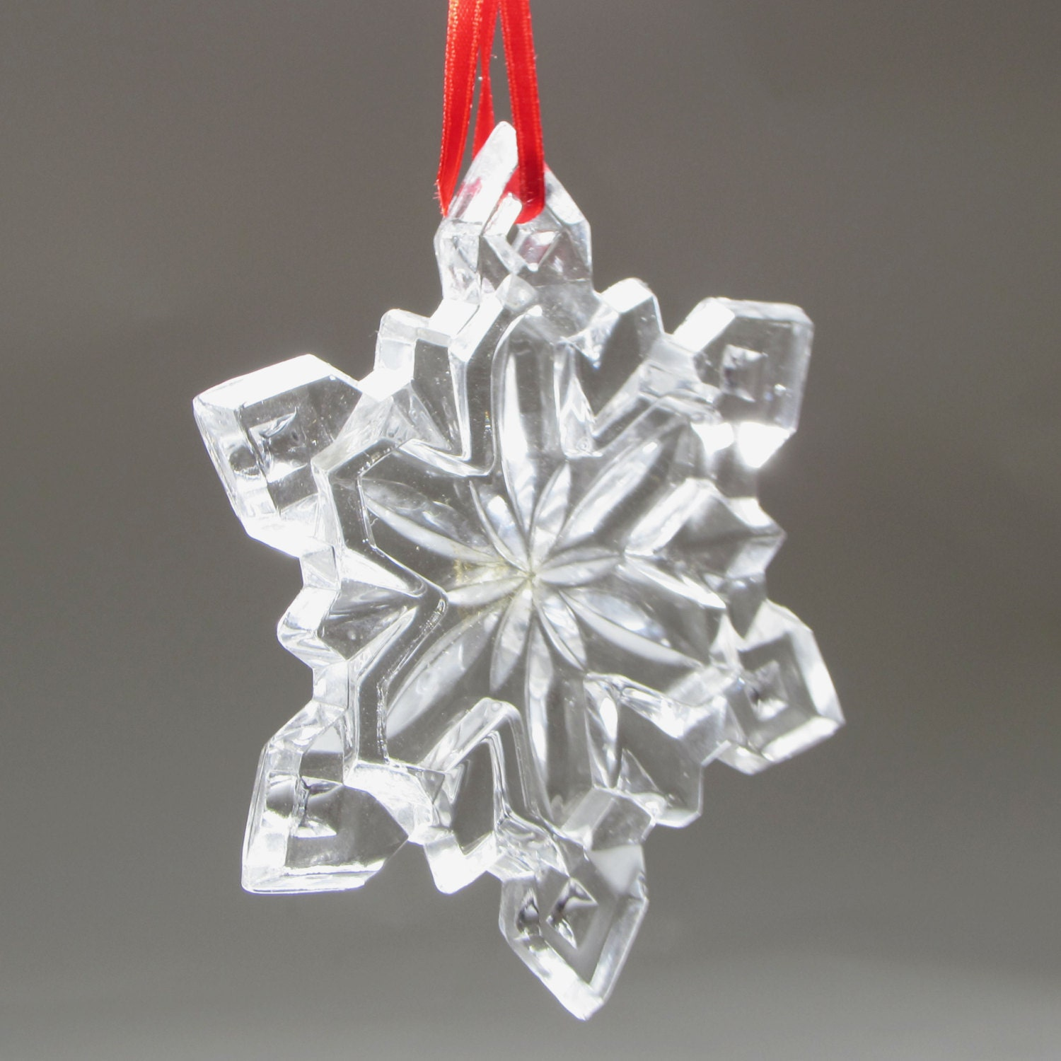 glass snowflake christmas tree ornament star 3 1 2 by whatnotgems. Black Bedroom Furniture Sets. Home Design Ideas