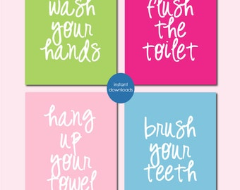 "Kids Bathroom Decor, Girls Bathroom Decor, Bathroom Wall Art, Bathroom Wall Quotes, Bathroom Art, Bathroom Decor INSTANT DOWNLOAD 8""x10""s"