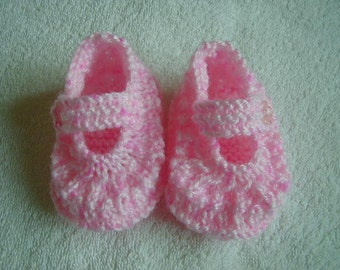 Hand Knitted Baby Shoes Colour Pink