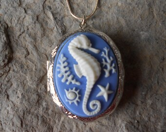 """LOCKET--Stunning Seahorse Pendant Locket--  2"""" long---.925 plated 22"""" Chain--- Great Quality"""