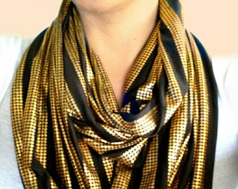 Chocolate and Gold Infinity Scarf
