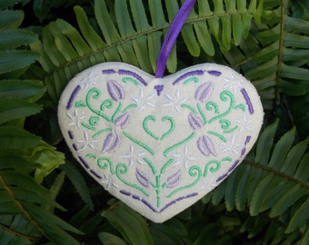 Christmas ~ Holiday ~ Gift ~ Wreath ~ Easter Floral Heart Machine Embroidered in Lavender, White & Green on Linen Blend Fabric