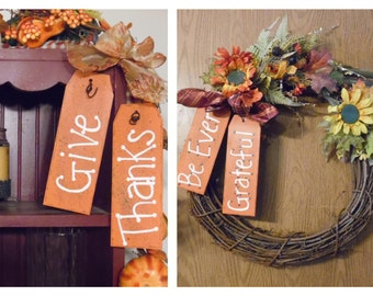 Wooden Thanksgiving Tags