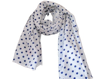 Summer scarf for children, blue stars. Kids scarf, blue stars. boys or girls