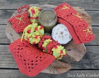 Crochet Spa Bundle, Bath Accessories, Crochet Bath Puff, Crochet Wash Cloths, Bath Set, Crochet Bath Set, Wash Cloths, Gift for Her