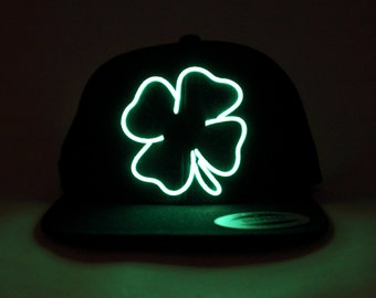 Light Up St. Patrick's Day Clover Hat made with El Wire in all colors; blue, green, orange, yellow, pink, purple, white