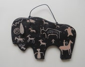 Clay buffalo southwest usa rock art petroglyphs Utah spiritual symbol western native american indian folk art spirit hunting wall hanging