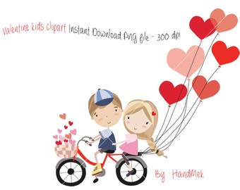 Valentine kids clipart, Valentine's clipart, valentine day clipart ,Instant Download PNG file - 300 dpi