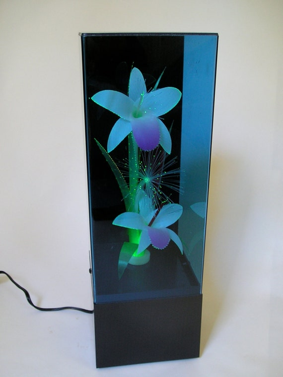 Vintage Retro 80s Fiber Optic Flower Light Lamp Music Box
