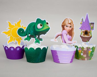 New!! Tangled Cupcake Wrapper & Topper Set, Printable for Rapunzel Birthday, Tangled Birthday Party
