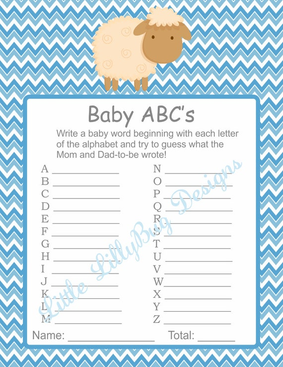 baby abcs game printable baby shower game a z name game boy diy shower