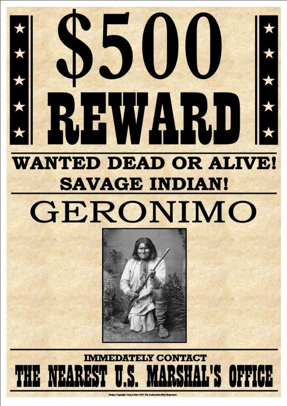 500 Reward Wanted Dead Or Alive Savage Indian By Artisaan