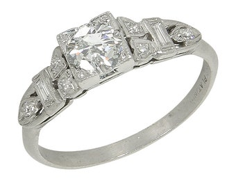 Vintage Platinum .62 Ct Diamond Solitaire Engagement Ring