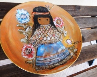 Ted DeGrazia Plate, Native American Plate Ted DeGrazia Little Cocopah Indian Girl Child, Artists of the World, Native American Collectible