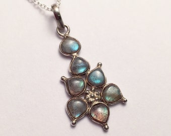 PRICE REDUCED TO 40! Gorgeous Sterling Silver and labradorite flower pendant hung on a Sterling chain