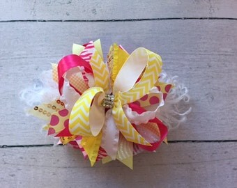 Pink and Yellow Bow