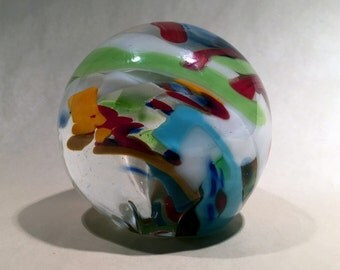 Clear Blue Red Orange White Glass Paperweight Sphere / Orb