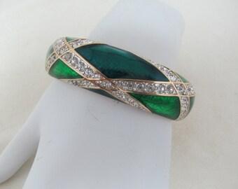 S.A.L. 1980s-90s Hinged Enameled Crystal Bangle Bracelet Item W-#337