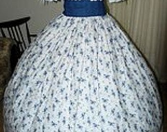 Civil War Reenactment Pioneer Ladies Day Gown Tan Cream Blue Green Brown Pink Gray Floral Eyelet Trim 6 8 10 12 14 16 18 20 22 24 26