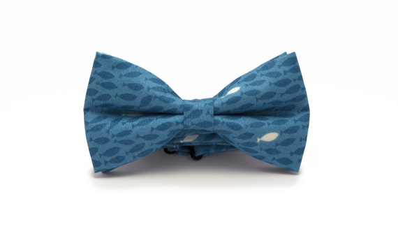 Mens bow tie blue fish bow tie marine bow tie bow tie for Fish bow tie