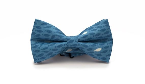Mens Bow Tie Blue Fish Bow Tie Marine Bow Tie Bow Tie