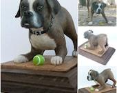 Custom, Personalized Polymer Clay Dog Sculpture, Playful Pup Ornament, Gift, Keepsake, Memorial. OOAK