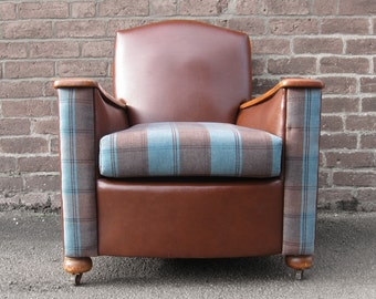 Armchair Brown Leather & Fabric Seat Restored 1930s PAIR AVAILABLE Art Deco 1930s