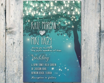Printed Card | 40-75 Sets | Sweet Night Lights Wedding Invitation and Reply Card Set - Wedding Stationery - ID380