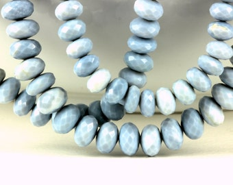 Peruvian Opal Rondelles 7.5mm to 8.3mm Faceted Blue Peruvian Opal Your Choice Quarter, Half,orFull Strand,Blue Gemstone, October Birthstones