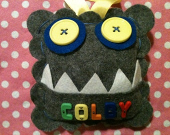 Monster Tooth Fairy Pillow. Boy's Tooth Fairy Pillow.  Personalized Tooth Fairy Pillow