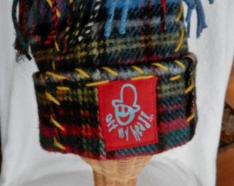 Vintage Crazy Hat Multi Color Plaid Wool Unique Fun Hat