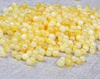 Natural Baltic Amber Loose Holed Round Ball Beads 50g - Butterscotch Color