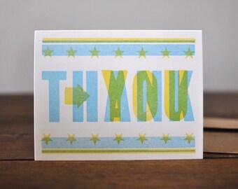 Thank You, Letterpress Wood Type Card