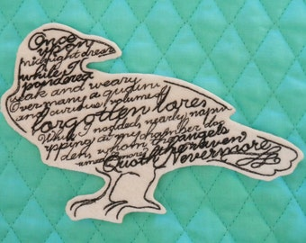 """Edgar Allen Poe, Quote the Raven, Nevermore, Iron on Patch, 4 1/2"""" X 6 1/4"""", Embroidered Patch, Midnight Dream"""