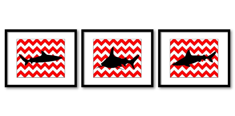 Shark Animals Art Prints Black Red Chevron Set of 3 Blue Sharks Boys Art Nursery Art Nursery Print C