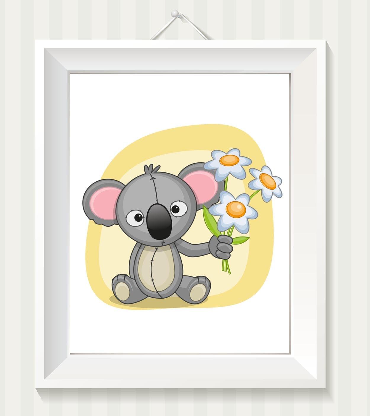 Koala Bear Nursery Art Nursery Print Koala Bear Baby Art Baby Animal Grey Yellow Dasies Flowers Prin