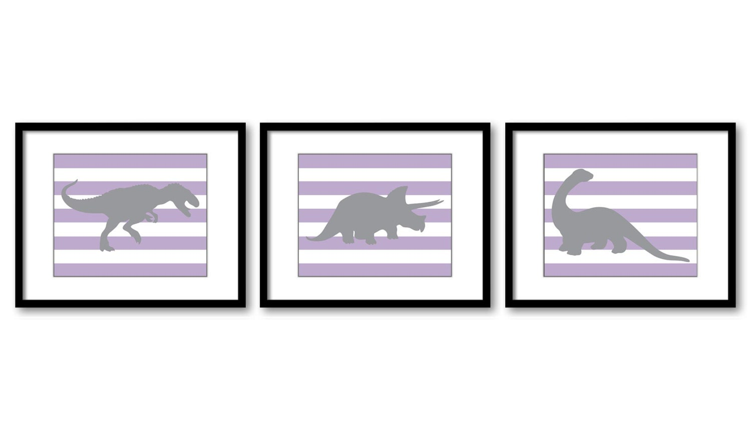Dinosaur Nursery Art Dinosaurs Prints Set of 3 Prints Purple Grey Stripes Tyrannosaurus Rex Tricerat