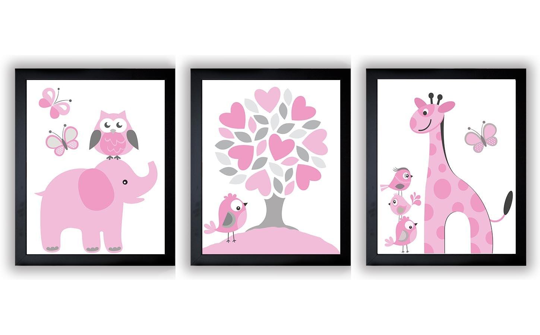 Pink Grey Girls Nursery Art Print Set of 3 Elephant Owl Bird Tree Giraffe Baby Nursery Print Child K