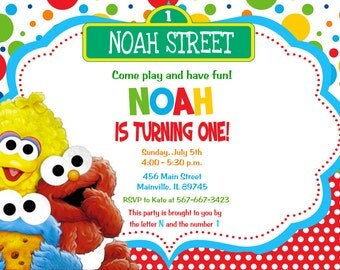 Baby Elmo Sesame Street First Birthday Invitation -  Digital Printable File